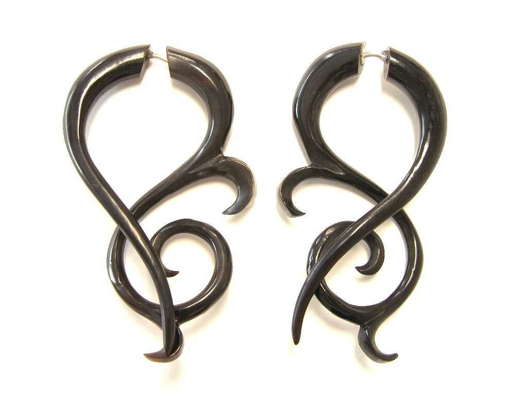 Fancy Tribal Black Buffalo Horn Organic Earrings Fake Tapers Gauges Body Jewelry