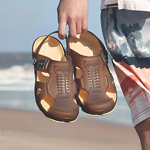 Men's Beach Slipper Lightweight Garden Clogs Anti-Slip Casual Sandals Mules for Indoor Outdoor,Various Sizes Brown