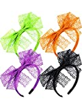 Blulu 80's Lace Headband Costume Accessories for 80s Theme Party, No Headache Neon Lace Bow Headband, Set of 4 (4 Colors C)