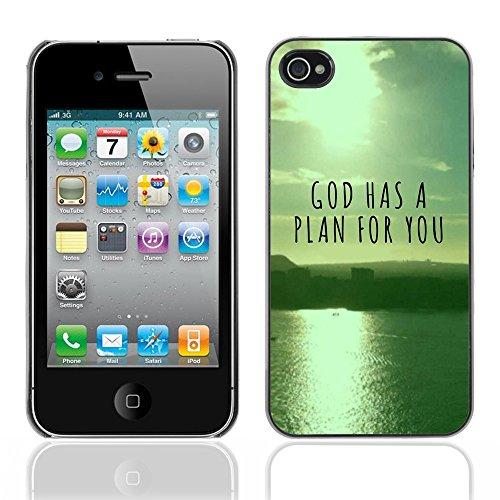DREAMCASE Citation de Bible Coque de Protection Image Rigide Etui solide Housse T¨¦l¨¦phone Case Pour APPLE IPHONE 4 / 4S - GOD HAS A PLAN FOR YOU