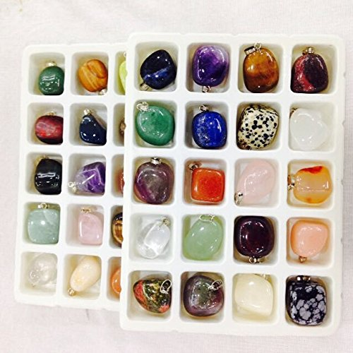 (20pcs Natural Semi-precious Stone Pendants Mixed color Nuggets Charms Pendants for Necklace Jewelry Making 18-25mm)