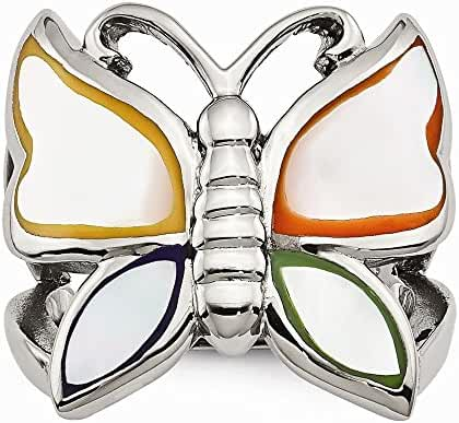 Chisel Stainless Steel Polished and Enameled Shell Butterfly Ring