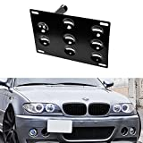 iJDMTOY Front Bumper Tow Hole Adapter License Plate Mounting Bracket For BMW E36 3 Series, E60 E61 5 Series, E63 E64 6 Series, E53 X5, MINI Cooper R50 R52 R53 R55 R56 R57 R58 R59
