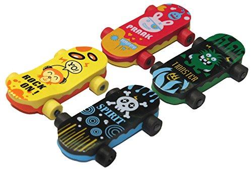 Lucore Skateboard Erasers - 16 pcs Colorful Kids Skateboarding Rubber Erasers