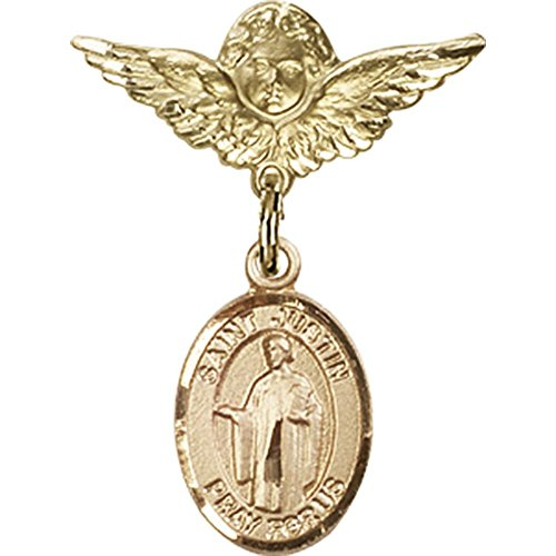 14kt Yellow Gold Baby Badge with St. Justin Charm and Angel w/Wings Badge Pin 1 X 3/4 inches by Unknown
