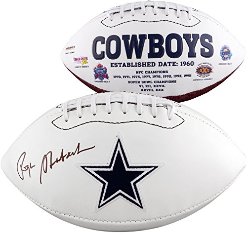 (Roger Staubach Dallas Cowboys Autographed White Panel Football - Fanatics Authentic Certified - Autographed Footballs)