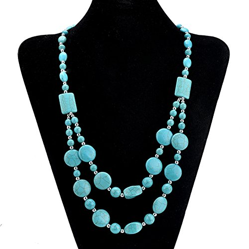 n Vintage 3-layer Strand Simulated Beaded Turquoise Long Chain Statement Bib Necklace Choker Necklace for Women (Blue) ()