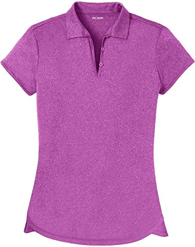 DRI-EQUIP(tm) Ladies Heathered Moisture Wicking Golf Polo-Berry-L