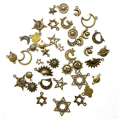 JETEHO Box of 40 Pcs Mixed Antique Bronze Sun Moon Star Charms Pendants for DIY Jewelry Making