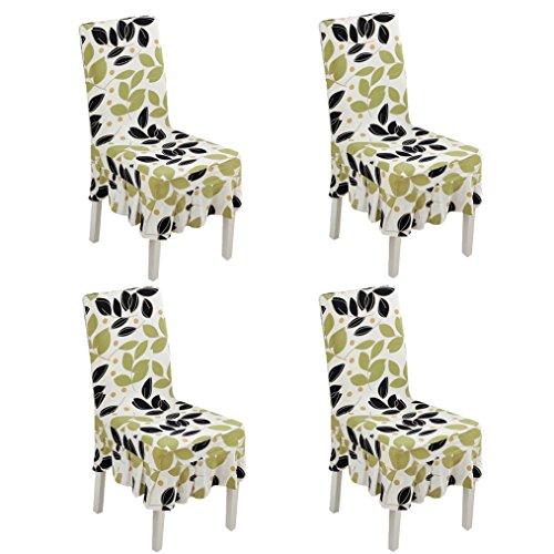 Deisy Dee Print Pattern Ruffled Long Skirt Dining Chair Slipcovers (Pack of 4) C028 (green - Ruffled Chair Slipcover Dining