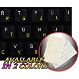 COLEMAK STICKER FOR KEYBOARD WITH YELLOW LETTERING TRANSPARENT BACKGROUND