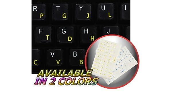 colemak adhesivo para teclado con amarillo letras sobre fondo transparente: Amazon.es: Electrónica