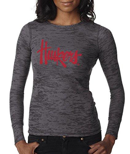 CornBorn Nebraska Legacy Script Huskers Premium Long Sleeve Thermal Burnout Shirt - Dark Gray - Small