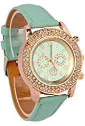 Tonsee Bling Crystal Dial Quartz Analog Leather Bracelet Wrist Watch (Mint Green)