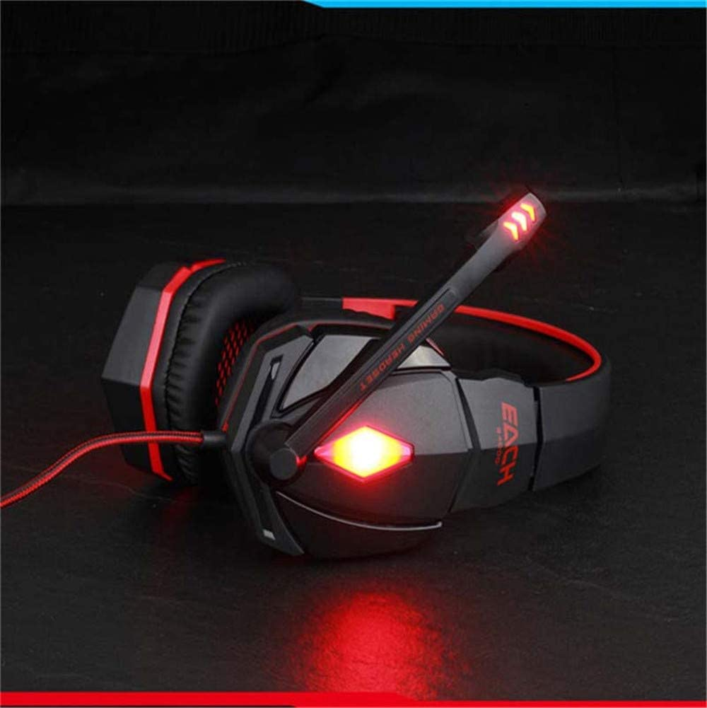 CITW Stereo Gaming Headset with Microphone Noise Cancelling Headphones and LED Headphones Vibrating PC Gaming Headset,Red