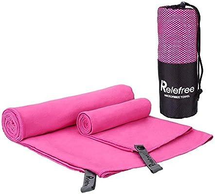 Relefree 2 x Toallas Deportivas Microfibra Super Absorbente Secado Rápido Antibacteriano (Rosa Roja)