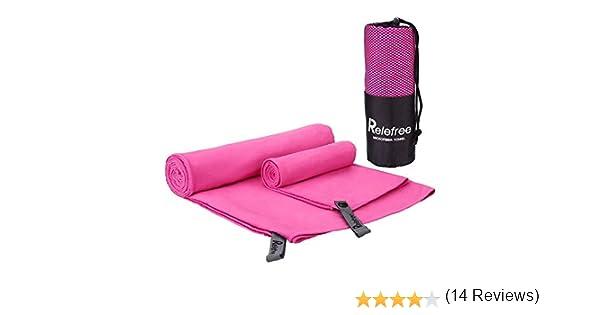 Relefree 2 x Toallas Deportivas Microfibra Super Absorbente Secado Rápido Antibacteriano (Rosa Roja): Amazon.es: Deportes y aire libre