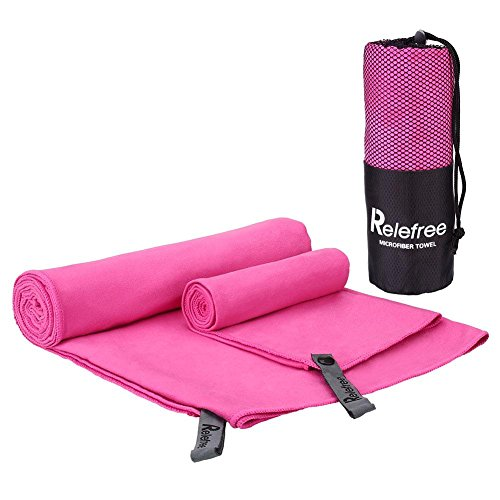 Relefree Premium Microfiber Towel for Travel, Sports & Outdoors FREE Hand/Face Towel & Mesh BAG, Antibacterial Quick-dry (Pink)