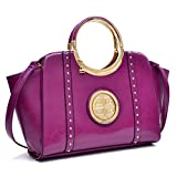 Dasein Women's Studded Top Ring Handle Wing Tote Satchel Bag Purse with Shoulder Strap Purple