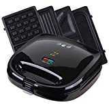 ZZ S6141A-B 4 in 1 Breakfast Waffle Omelette and Sandwich Maker with 4 Sets of Detachable Non-stick Plates, Black