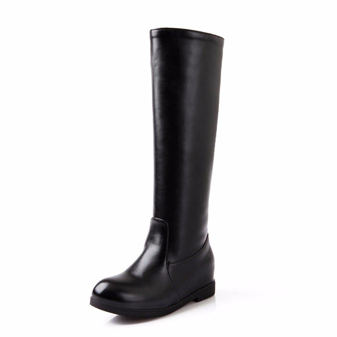 Smooth Leder Stiefel Winter high Größe Tube Größe high Schuhes Schuhes schwarz 33d36b
