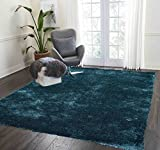 Fluffy Fuzzy Furry Shimmer 5×7 Shag Shaggy Modern Contemporary Decorative New Teal Dark Green Area Rug Carpet Viscose Hand Tufted Two Tone Color Bedroom Living Room Sale Cheap Discount ( Aroma Teal ) Review