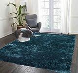 Cheap Soft Shag Shaggy Fluffy Furry Fuzzy Solid Area Rug Carpet 8×10 Dark Green Teal Blue Aqua Teal Modern Contemporary Living Room Bedroom Decorative Designer Sale Discount Cheap ( Aroma Teal )