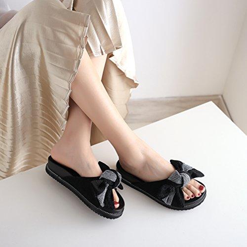 Chaussures Toe Bow TWGDH Summer Plat Flip Ouvert Black Flops Beach Décontractées Mesdames Fashion Sandales Pantoufles 0qxqAvOwS