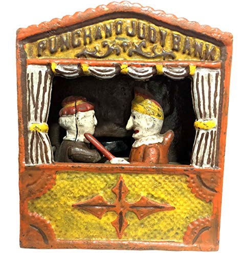 Global Art World Antique Vintage Style Collectible Artistic Heavy Iron Cast Punch and Judy Unique Mechanical Money Bank / Money Box / Coin Box MB 05
