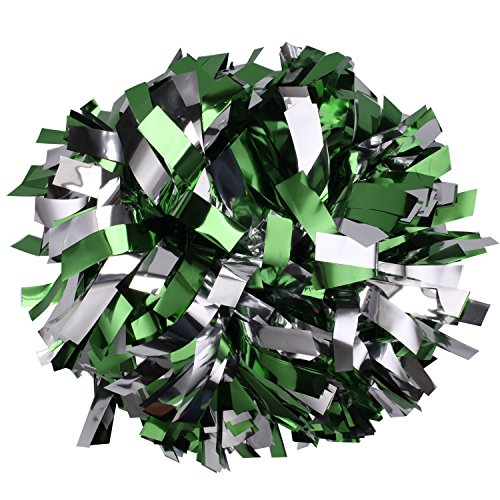 ICObuty Metalic Cheerleader Cheerleading Pom pom 6 inch 1 Pair (Kelly Green/Silver) ()