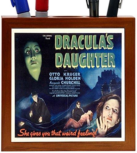 Rikki Knight Vintage Movie Posters Art Dracula's Daughter 2 Design 5-Inch Wooden Tile Pen Holder (RK-PH3706)
