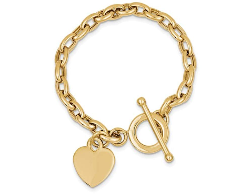 14K Yellow Gold Toggle Heart Tag Charm Link Bracelet