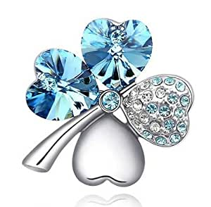 Lovers2009 Sell Well Sweet Jewelry Diamond Clover Crystal Brooch (Navy blue)