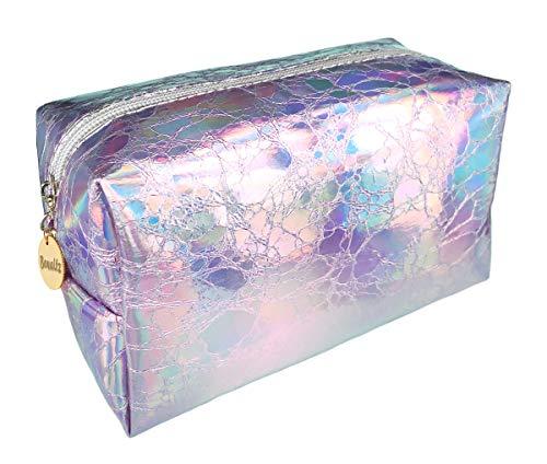 Bewaltz Waterproof Shiny Hologram Laser Clutch Handbag Multifunctional Clutch Bag Makeup Bag Cosmetic Bag Makeup Bag Toiletry Travel Bag Handy Large Protable Wash Pouch, Waterproof, shiny Silver
