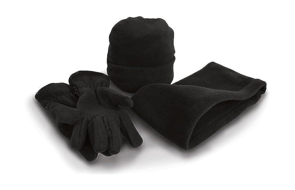 Result Set coordinati invernali Cappello Sciarpa Guanti in morbido pile caldo set da 3 pezzi