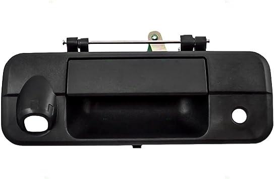 Tailgate Handle Bezel with Key /& Camera Hole Smooth Black for Silverado Sierra