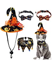URYOUNGER Cat Costumes Set - 4 Pack Replaceable Cat Halloween Costumes with Cat Hats, Cat Bandana, Cat Collars with Cute Bowties and Bells, Cosplay Costumes for Cats and Kittens Only