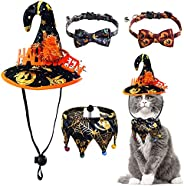 URYOUNGER Cat Costumes Set - 4 Pack Replaceable Cat Halloween Costumes with Cat Hats, Cat Bandana, Cat Collars