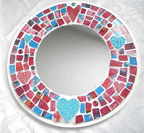 Round Mosaic Accent Mirror - Abstract China and Ceramic Hearts