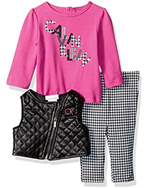 Baby Girls' Pleather Vest with Tee and Pants Set