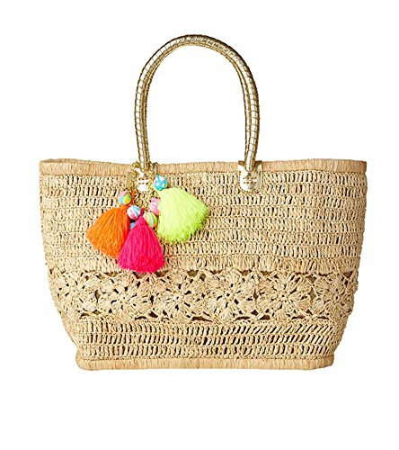 Boho-Chic Vacation & Fall Looks - Standard & Plus Size Styless - Lilly Pulitzer Riviera Straw Tote Bag
