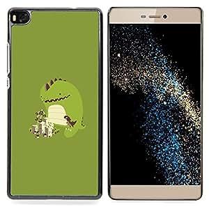 "Qstar Arte & diseño plástico duro Fundas Cover Cubre Hard Case Cover para Huawei Ascend P8 (Not for P8 Lite) (Jugar lindo del monstruo"")"
