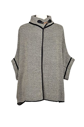 LL Womens Warm Poncho Open Front with Sleeves Fall Winter Many Styles (One Size- Best for S/M to M/L, White Tweed) ()