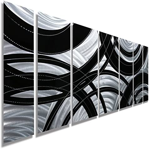 Statements2000 Silver Black Metal Wall Art Panel, Modern Home D cor by Jon Allen Metal Art, Crossroads, 68 x 24