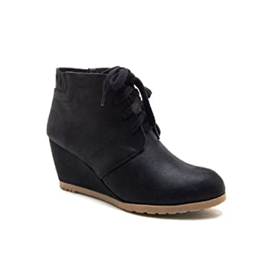 Women's Pebble Wedge Lace Up Boot Heeled Shoe Bootie