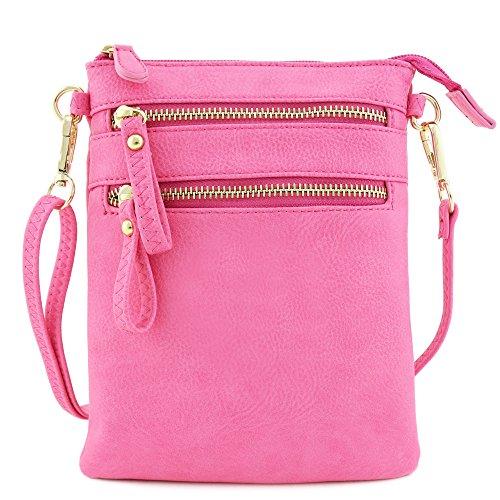 Crossbody Zipper Pink Pocket Wristlet Multi Bag xYHwfqTtt