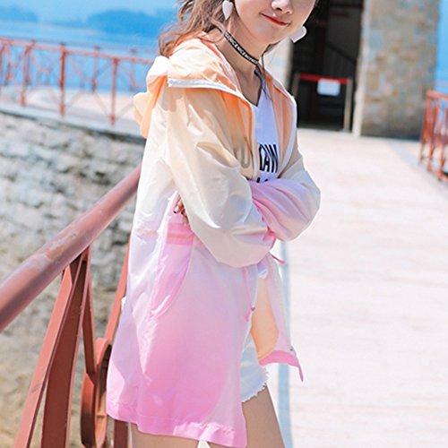 QFFL fangshaifu 女性の夏のグラデーションカラーサンプロテクションウェア/学生アンチUVスリムファッションコート/通気性ライディングアンチUVスリムカーディガン(4色使用可能) (色 : A, サイズ さいず : M)