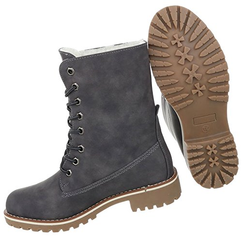 Damen Schuhe Stiefeletten Used Optik Schnürer Boots Grau