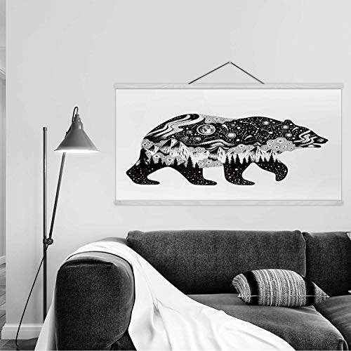 Hitecera Bear Silhouette for t Shirt Print or Temporary Tattoo Wall Art Poster,Hand Drawn Surreal Design for Apparel for…
