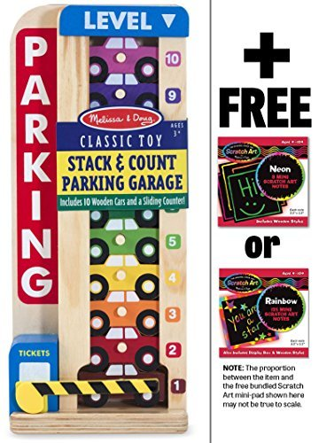 Melissa & Doug Wooden Stack & Count Parking Garage Classic Toy + Free Scratch Art Mini-Pad Bundle [51828]
